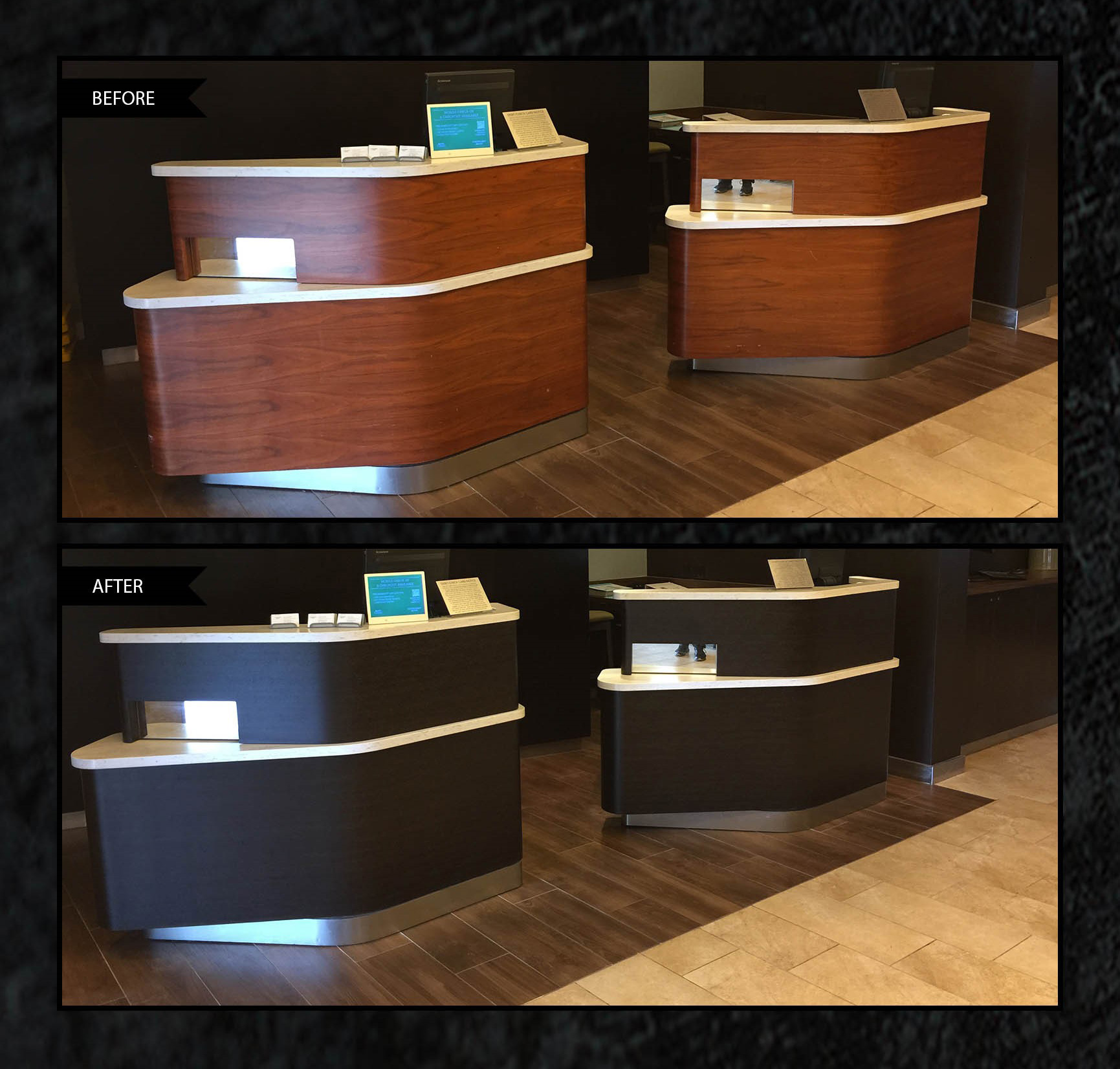 architectural vinyl film on reception desk